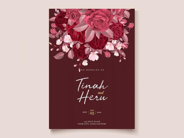 Romantische bloemen kastanjebruine bruiloft uitnodiging