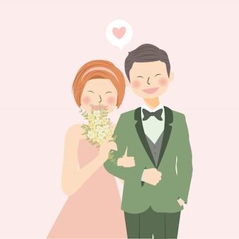 Romantische bruidspaar hand in hand en lachen met bloemboeket