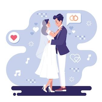 Romantische bruidspaar illustratie