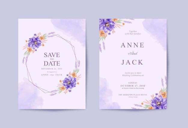 Romantische bruiloft kaart met prachtige paarse bloemen aquarel