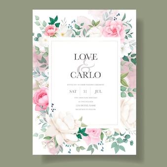 Romantische bruiloft uitnodiging bloemen kaartsjabloon