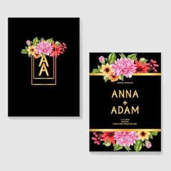 Romantische bruiloft uitnodiging goud met dahlia aquarel