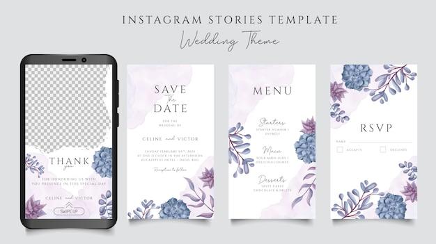 Romantische bruiloft uitnodiging met aquarel bloemen frame voor instagram verhalen sjabloon