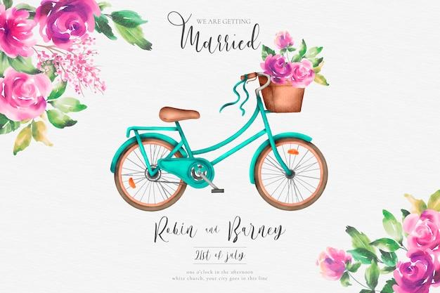 Romantische bruiloft uitnodiging met aquarel fiets en bloemen