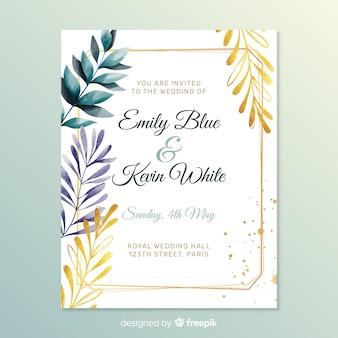 Romantische bruiloft uitnodiging met bladeren