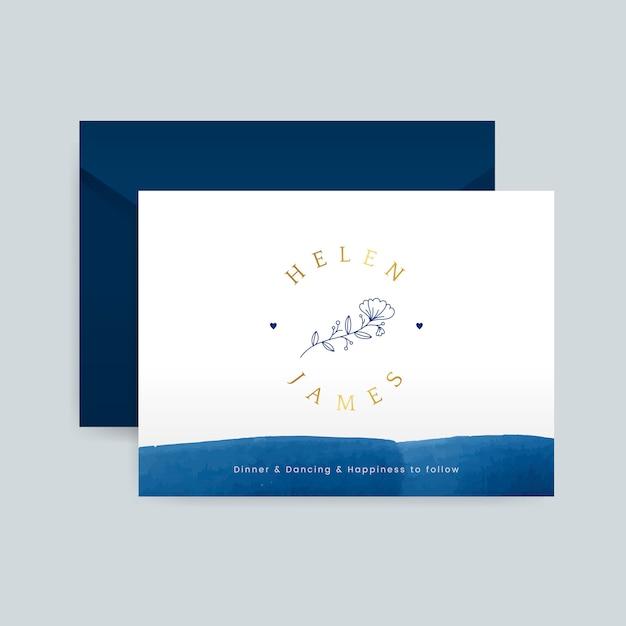 Romantische bruiloft uitnodiging met envelop vector