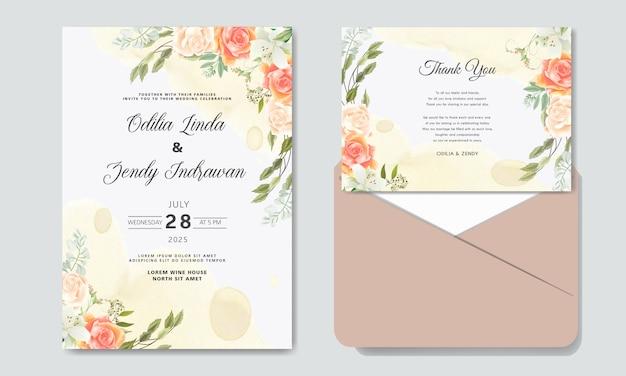 Romantische bruiloft uitnodiging met prachtige bloemen thema's