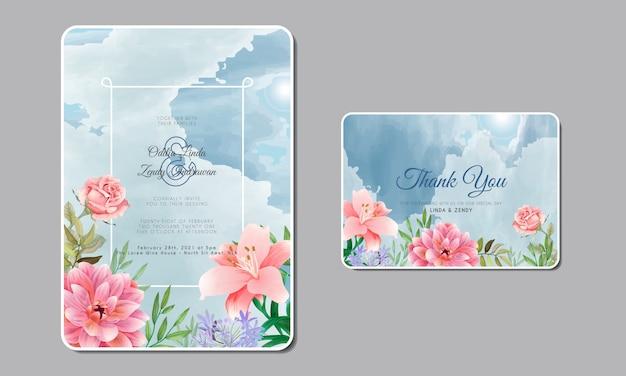Romantische bruiloft uitnodiging met prachtige bloemen