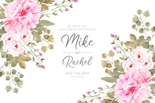 Romantische bruiloft uitnodiging sjabloon