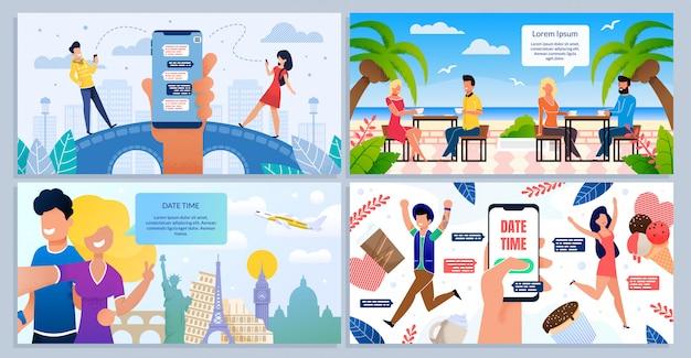 Romantische datum, huwelijksreis reizen vector posters set