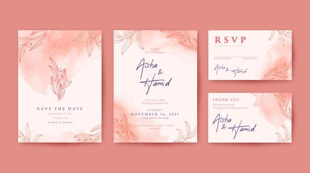 Romantische elegante en mooie bruiloft uitnodiging set met kastanjebruine achtergrond en met de hand getekende bladeren