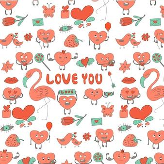 Romantische elementen sjabloon valentijnsdag viering harten flamingo's bloemen cadeau lippen