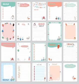 Romantische en liefdeskaarten, notities, stickers, etiketten, tags met lente-illustraties. sjabloon voor scrapbooking, inpakken, gefeliciteerd, uitnodigingen.