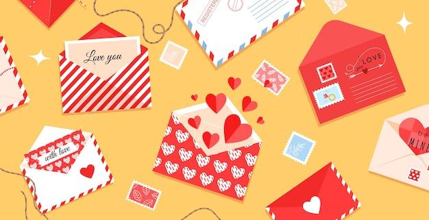 Romantische enveloppen en kaarten op tafel voor valentijnsdag.
