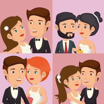 Romantische foto van net getrouwde set personages poseren