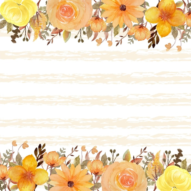 Romantische gele rustieke bloemen abstracte lijn achtergrond