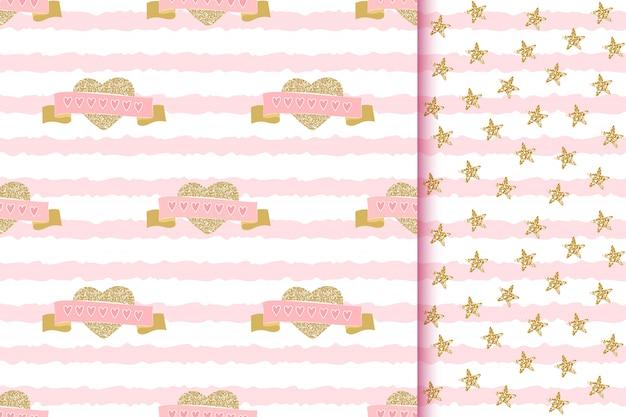 Romantische glinsterende naadloze patronen met liefde schitteren gouden harten en linten op roze gestreept