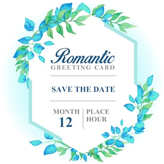 Romantische groetkaart lichtblauwe kleur, blauwe en groene bladeren zeshoekige kaart