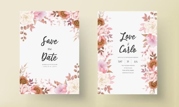 Romantische hand getekend elegante bruine bloemen bruiloft uitnodigingskaart Gratis Vector