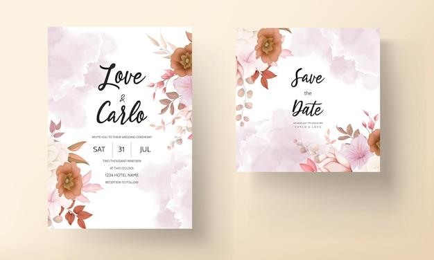 Romantische hand getekend elegante bruine bloemen bruiloft uitnodigingskaart