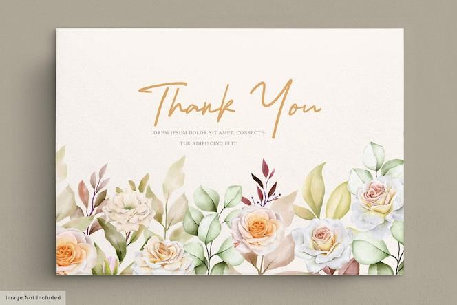 Romantische hand getrokken bloemen bruiloft dank u kaart