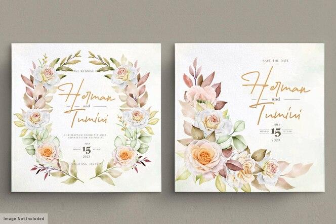 Romantische hand getrokken bloemen bruiloft kaartenset