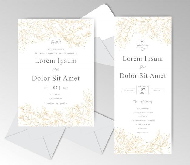 Romantische hand getrokken bruiloft uitnodigingskaarten sjabloon
