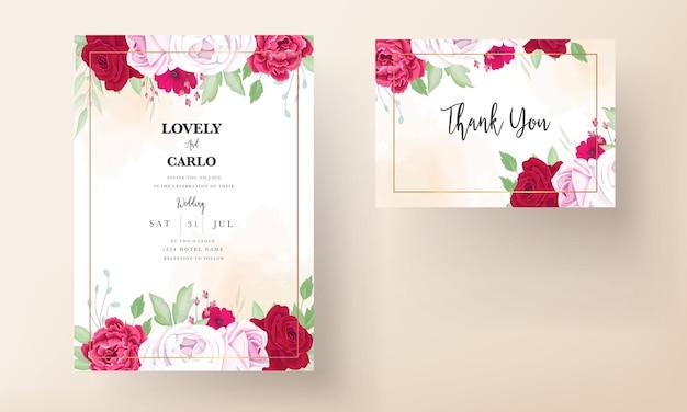 Romantische huwelijksuitnodiging met pioenroos en rozerode bloemen