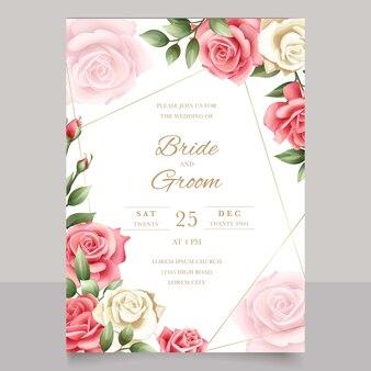 Romantische huwelijksuitnodiging met prachtige rozen