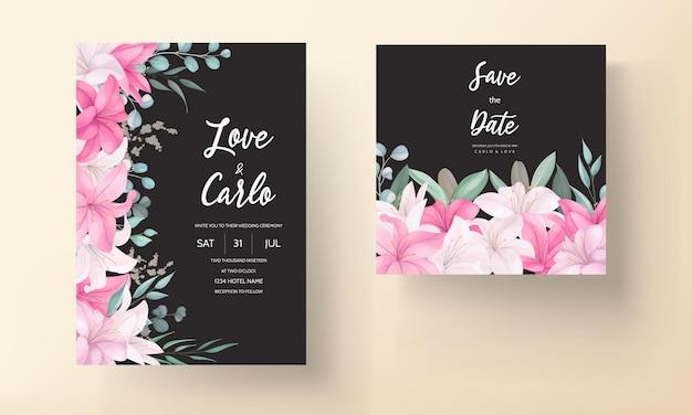 Romantische huwelijksuitnodigingskaart met prachtige lelie bloemen en bladeren Premium Vector
