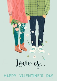 Romantische illustratie met man en vrouw. liefde, liefdesverhaal, relatie.