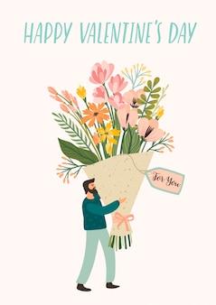 Romantische illustratie met schattige man en bloemen.