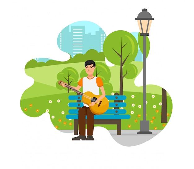 Romantische jongen met gitaar geïsoleerd ontwerpelement