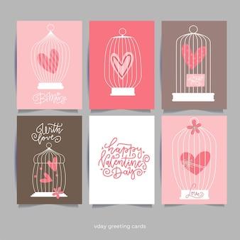 Romantische kaart met hart in kooien. valentijnsdag wenskaart. belettering citaten.