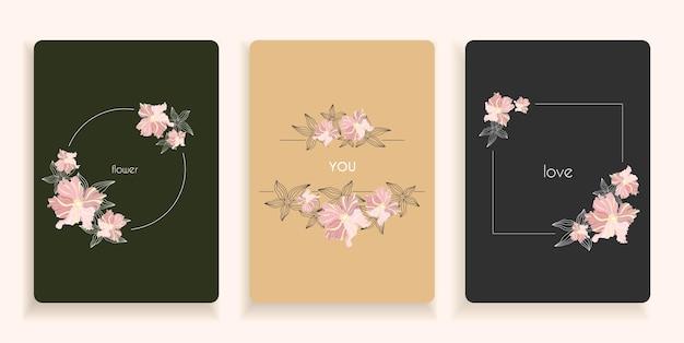 Romantische kaarten met bloemen en bloemenuitnodiging