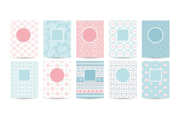Romantische kaartsjablonen met roze patronen Premium Vector
