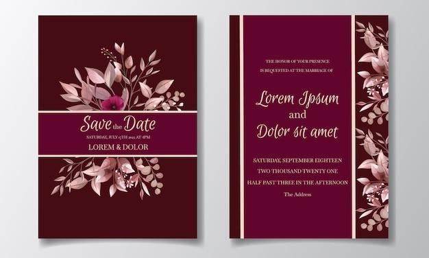 Romantische kastanjebruine bruiloft uitnodiging kaartsjabloon ingesteld met roze kosmos bloemen en bladeren