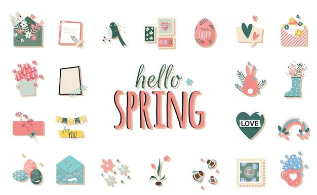 Romantische lentestickers met envelop en bloemen