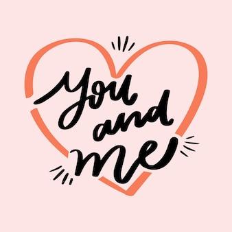 Romantische letters met bericht en hart