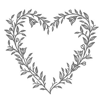 Romantische lijntekeningen bloemenhartillustratie voor abstract en decoratief concept