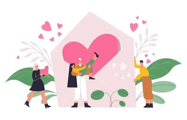 Romantische mensen, verliefde stelletjes met een gigantisch hart, valentijnsdag concept. gelukkig romantische karakters met rood hart en liefdesbrief vectorillustratie. valentijnsdag concept