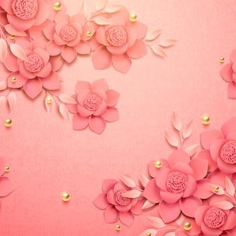 Romantische papieren bloemen en gouden kralen achtergrond in 3d illustratie