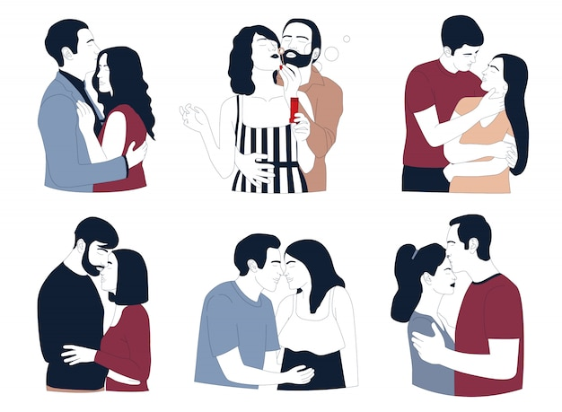Romantische paren die op witte achtergrond worden geïsoleerd. liefde en relatie.