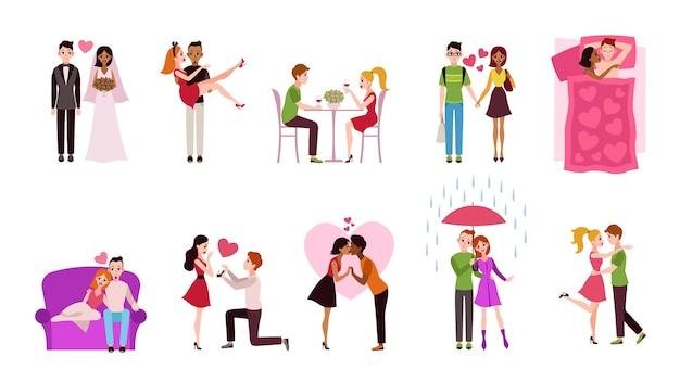 Romantische paren illustratie