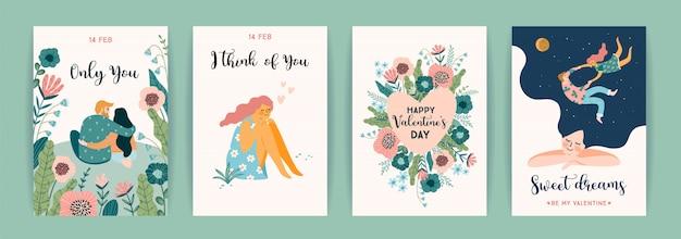 Romantische reeks leuke illustraties voor valentijnsdag en andere gebruikers.