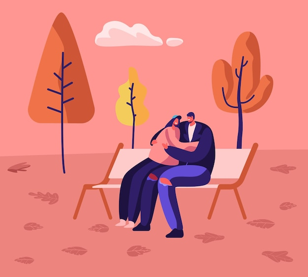 Romantische relaties, fall day promenade together. liefdevolle gelukkige paar knuffelen, cartoon vlakke afbeelding