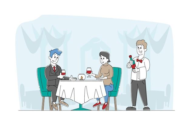 Romantische relaties love meeting happy loving couple characters dating in restaurant