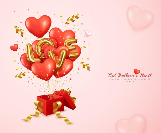 Romantische rode ballonnen hart en letter liefde stuiteren uit de geschenkdoos
