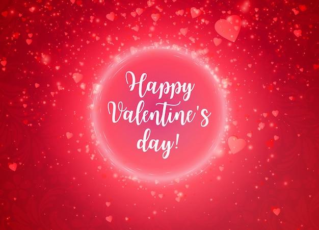 Romantische rode happy valentines day kalligrafie kaart.