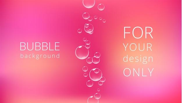 Romantische roze achtergrond met bruisende bubbels valentijn kaartsjabloon realistische vectorillustratie